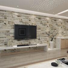 3D Brick Stone Effect Wall Paper Vinyl  Cafe Bar Room TV Background Decor Roll