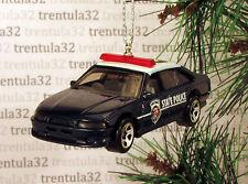 STATE POLICE DARK BLUE WHITE POLICE CAR CRUISER CHRISTMAS TREE ORNAMENT XMAS
