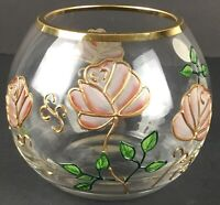 Romanian Crystal Rose Bowl Handcrafted, Handpainted Roses w/ Gold Accents w/ Tag