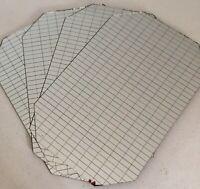 Vintage Set 4 Octagon Glass Mirror Placemats Grid Pattern W/Bevel Edge  1970's