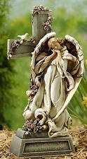 "14.75""In Memory Of Angel With Cross Memorial Indoor Outdoor Garden Statue #47448"