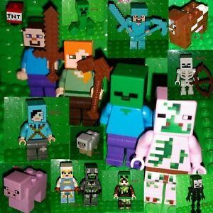 Zombie combo Bundle Minecraft LEGO Minifigure Figure  min009 Steve Alex
