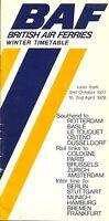 BAF BRITISH AIR FERRIES TIMETABLE WINTER 1977/78