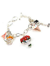 Silver Toned Charm Bracelet With Multi-Colored Food Flowers and Shoes Charms