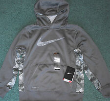NWT Nike Boys S Dark/Light Gray Geometric Therma FIt Hoodie Sweatshirt Small 8