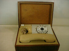 VINTAGE DECO TEL EXECUTIVE WOOD BOX DESK PHONE MODEL 2110 ROTARY DIAL TELEPHONE