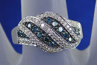 .50 CT Total Weight Blue and White Genuine Diamond  Ring - 10KT White Gold