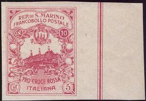 SAN MARINO 1916 - 10+5 c. CROCE ROSSA NON EMESSO VARIETA' Cert.FERRARIO € 1.500