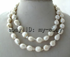 White Unusual Baroque Keshi KEISHI Freshwater Pearl Necklace Silver Toggle Clasp