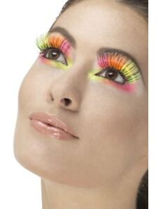 Adult Womens 80s Party Eyelashes Neon Multi-Coloured Fancy Dress Accessory