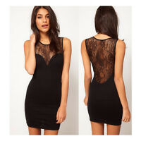 Hot Women Sexy Lace Sleeveless V Neck Dress Cocktail Clubwear Mini Party Dresses
