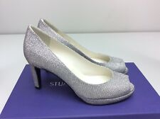 Stuart Weitzman Annamimic Silver Noir Glitter Peep Toe Heels Pump 4 M Bridal