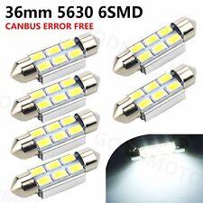 6 x Festoon Bulb 36mm 6 SMD 5630 LED C5W C10W Interior Light White Car Boat 12v