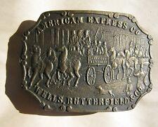 Vintage Brass Belt Buckle American Express Wells Butterfield & Co