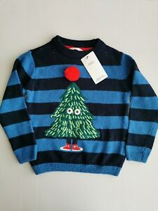 Marks And Spencer Boys Knitted Christmas Jumper Age 5-6 Christmas Tree Stripe