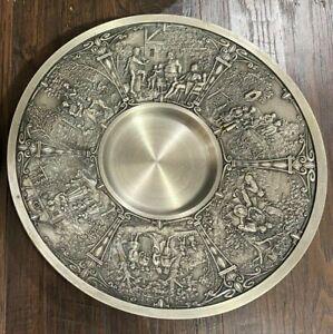 "VINTAGE Rein Zinn Gegossen Pewter 9"" Plate Raised Relief 3D Design WALL HANGING"