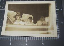 Mom & Sons Inside Old Car Woman Boys Interior Window Vintage Snapshot PHOTO