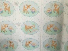 Vintage Baby Bunny Duckling Deer Fawn Pastel Floral Quilting Fabric Nursery Yd