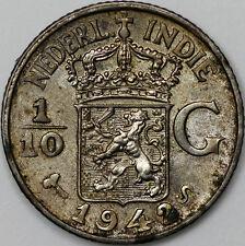 1942 NETHERLANDS INDIE 1/10 GULDEN SILVER COIN