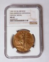 1901 NY HK-289 So Called $1 Pan American Exposition Official Medal NGC MS 62