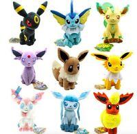 Set of 9 New Pokemon Evolution of Sit Eevee Sylveon Umbreon Leafe Plush doll Toy