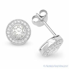 Sterling Silver Micro-Pave Studs Cubic Zirconia CZ Crystal Halo Stud Earrings