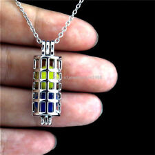 K181 Silver Hollow Cylinder Pearl Bead Cage Locket Pendant Necklace