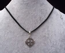 Tibetan Silver Celtic Cross Pendant Black Leather Necklace.Handmade In Gift Bag