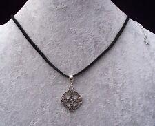 Tibetan Silver Celtic Cross Pendant Black Leather Necklace.Handmade