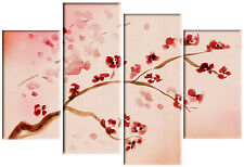 LARGE CHINESE BLOSSOM FLOWER FLORAL PAINTING RED PINK SPLIT CANVAS PICTURE 100cm