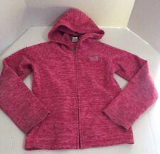 North Face Girls Jacket 10/12 Fleece Zip Up Hooded Heather Pink Lightweight
