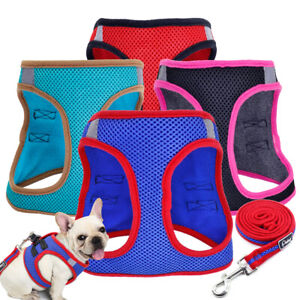 Soft Mesh Breathable Dog Harness Puppy Pet Adjustable Step-in Harness Vest Lead
