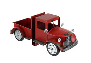 Vintage Red Pickup Truck Weathered Finish Metal Bookends Front and Back