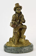 Antique Victorian Era Bronze Sculpture Beggar Boy in Tattered Clothes w Pet Rat