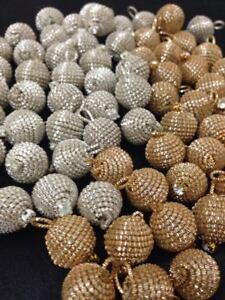 5 Gold Silver Stunning Bullion Round Diamante Buttons, Ball Indian pom pom 15mm