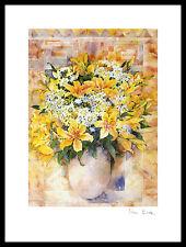 Mae Book Yellow Lilies Poster Bild Kunstdruck mit Alu Rahmen in schwarz 40x30cm