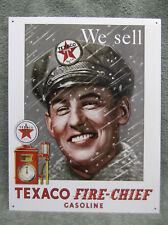 Texaco Fire Chief Pump Attendant Tin Metal Sign Decor Gas Oil