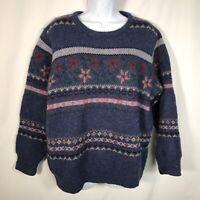Vintage Brooks Brothers 100% Wool Sweater Womens M Fair Isle Nordic Blue