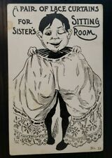 Early Comic Postcard~ A Pair Of Lace Curtains For Sister's Sitting Room~P552