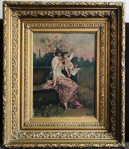 Follower W. Bouguereau - Antique 19thC French Girl w/ Angel Cherub Flowers NR