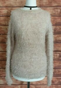 Pale Pink SPARKLY Jumper Size UK-8 Sequins Fluffy Knit Winter Women's Ladies