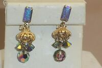 Lewis Segal Bluish AB Faceted Crystal & Rhinestone Dangle Clip on Earrings