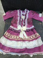 ANTIQUE silk,cotton dress for FRENCH doll 12-14 Jumeau Steiner Bru antique lace