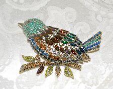 "Massive Bird Brooch Pin Topaz Emerald New $230 Heidi Daus ""Marquise Madness"""
