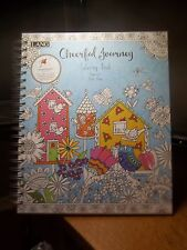 CHEERFUL JOURNEY ADULT SPIRAL100 PAGE COLORING BOOK ART BY DEBI HRON