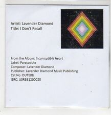 (GB910) Lavender Diamond, I Don't Recall - DJ CD