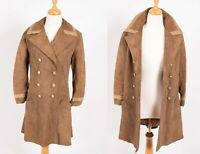 Vintage 60s 1960s double breasted mod brown suede nautical peacoat jacket coat