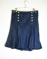 Ralph Lauren rugby polka dots 100% silk lined skirt US8 UK12 M