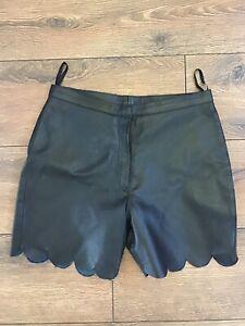 Vintage Genuine Black Leather High Waisted Scalloped Costume Shorts UK 8