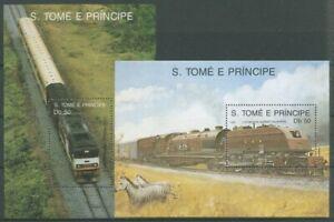 Sao Tomé und Príncipe 1989 Eisenbahn Lokomotive Block 208/09 postfrisch (C27316)